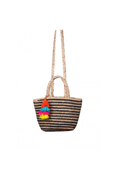 America & Beyond Raven Stripe Jute Crossbody Tote - Alternate List Image