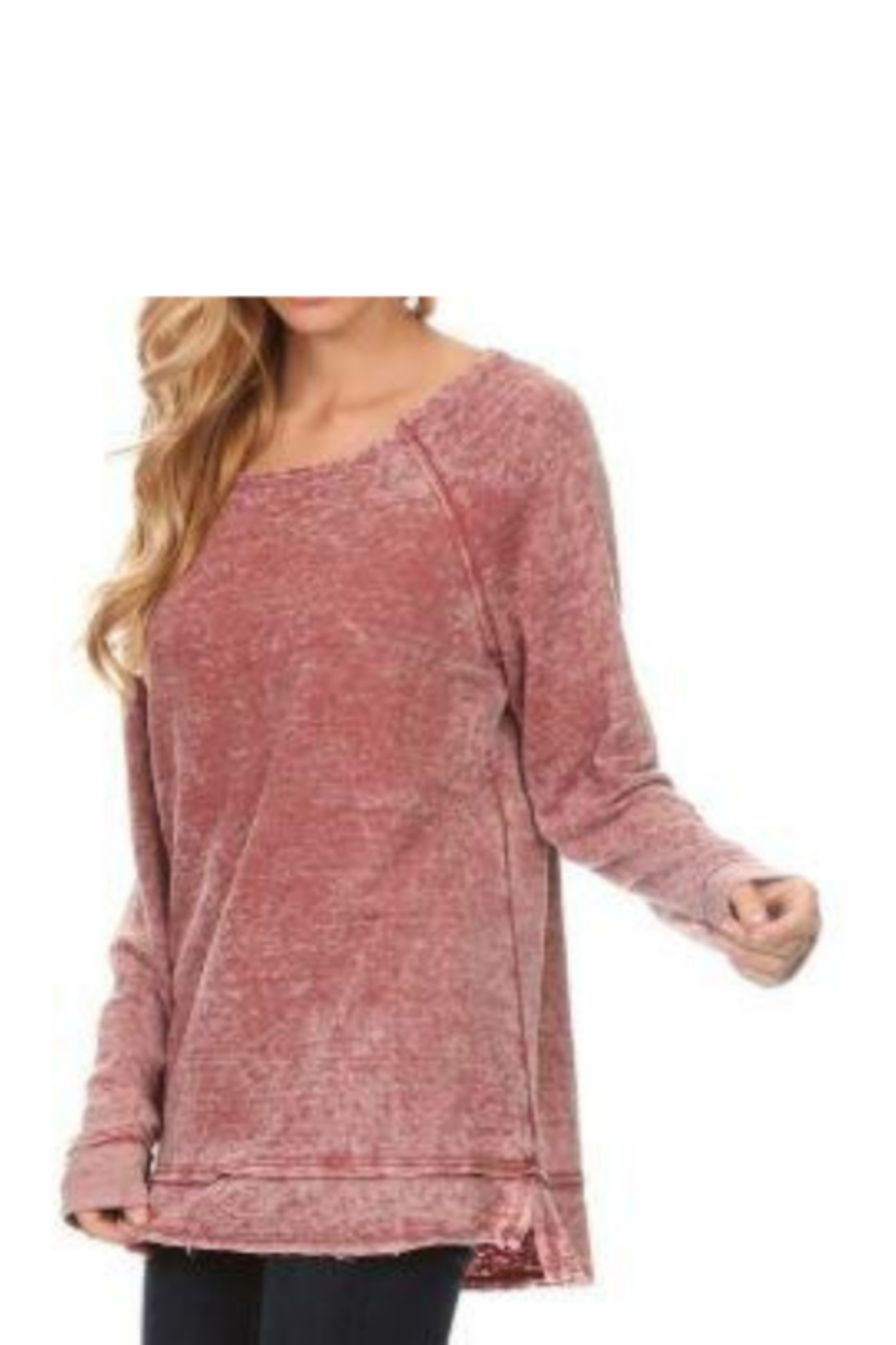 T Party Raw Edge Burn Out Tunic Knit Top - Front Cropped Image