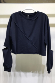 Venti6 Raw Edge Crop Sweater - Front cropped