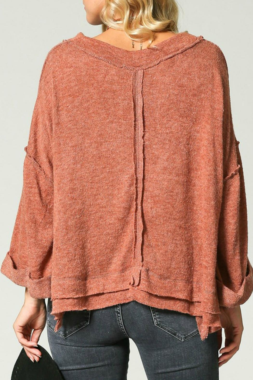 KyeMi Raw-Edge Dolman Sweater - Front Full Image