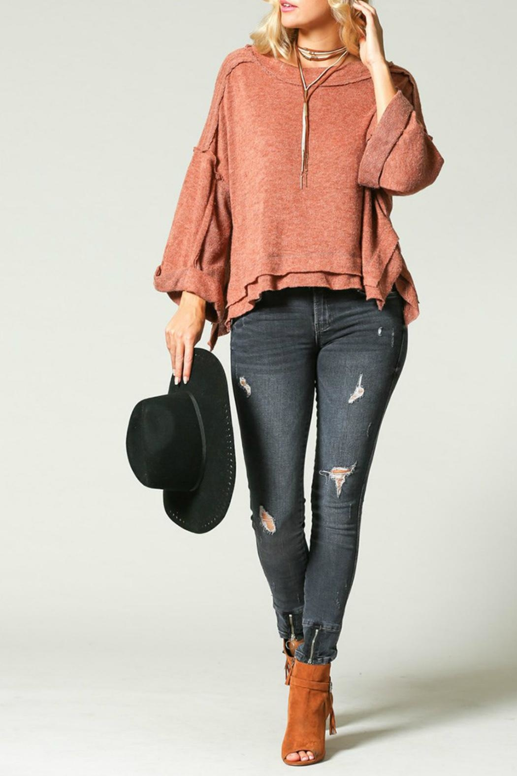 KyeMi Raw-Edge Dolman Sweater - Front Cropped Image