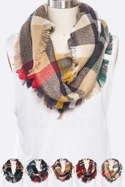 Lyn -Maree's Raw Edge Plaid Infinity Scarf - Product Mini Image