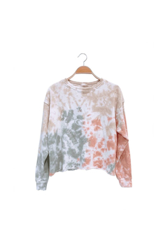 Shoptiques Product: RAW EDGE TIE DYE FRENCH TERRY CROP