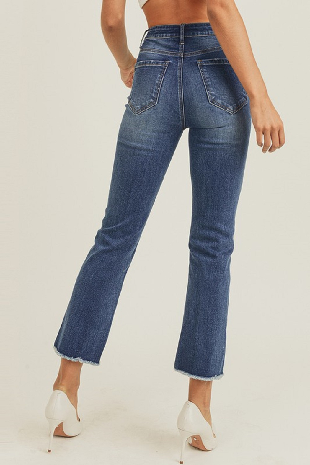 Risen Raw Hem Ankle Straight - Side Cropped Image