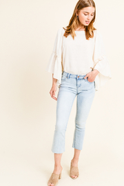 MONTREZ RAW HEM CROPPED BOOT CUT JEANS - Product Mini Image