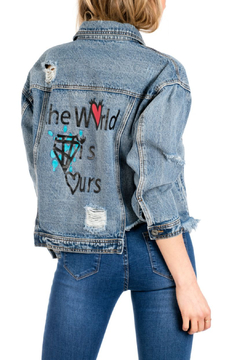 Funky Soul Denim Raw Hem Denim Jacket - World Is Ours - Product List Image