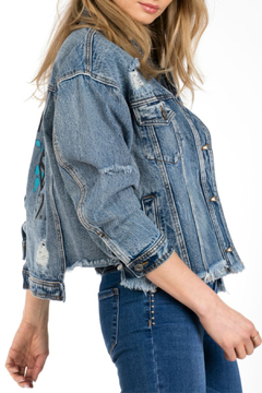 Funky Soul Denim Raw Hem Denim Jacket - World Is Ours - Alternate List Image