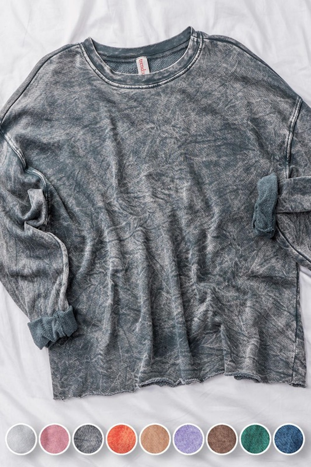 Trend Notes  Raw Hem LS Tee - Front Full Image