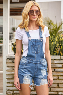 The Emerald Fox Boutique Raw Hem Ribbed Light Blue Denim Overall Shorts - Product List Image