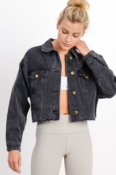 Mono B Raw & Ribbed Crop Denim Jacket - Product List Image