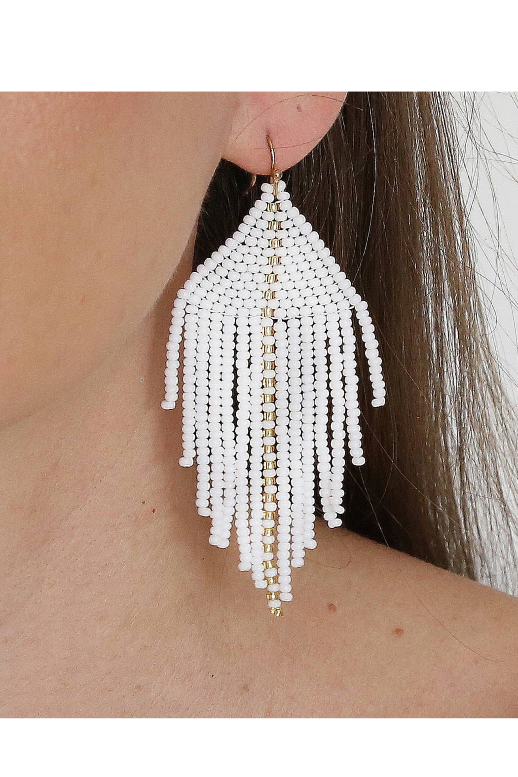 Fosterie  Raya Beaded Earrings White - Front Full Image