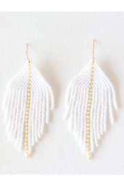 Fosterie  Raya Beaded Earrings White - Front cropped