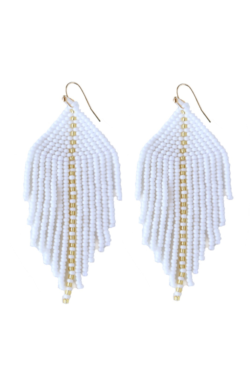 Fosterie  Raya Beaded Earrings White - Side Cropped Image