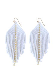 Fosterie  Raya Beaded Earrings White - Side cropped