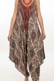 KIMBALS RAYON PRINT JUMPER - Taupe/Rust - Product Mini Image