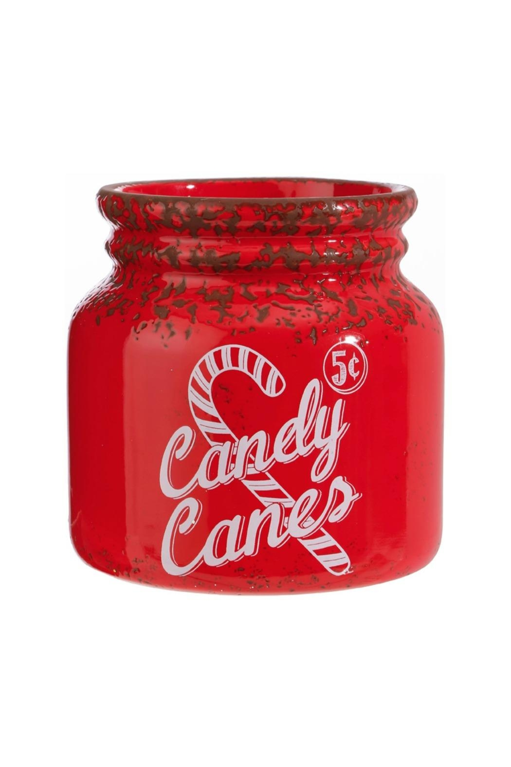 RAZ Imports Red Candy Cane Jar - Front Cropped Image
