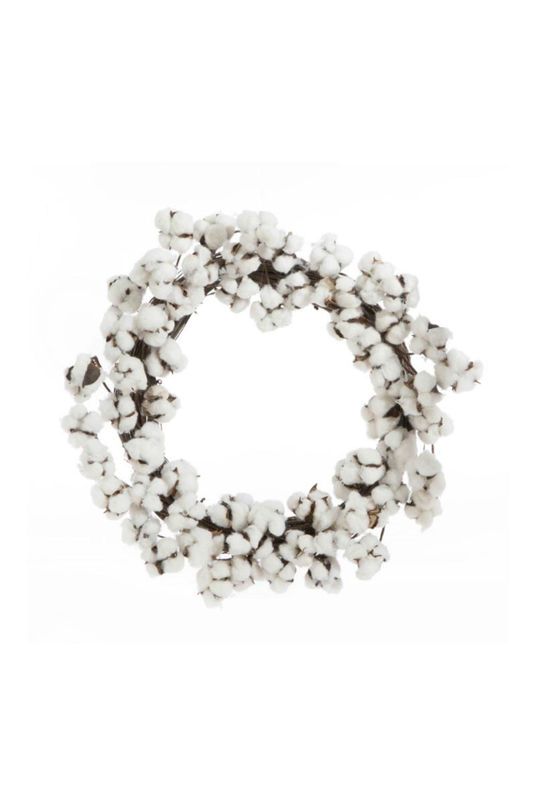 RAZ Imports Cotton Boll Wreath - Front Cropped Image