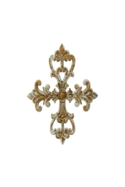 RAZ Imports Gold Carved Cross - Front cropped