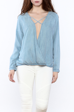 Shoptiques Product: Light Denim Crossover Top