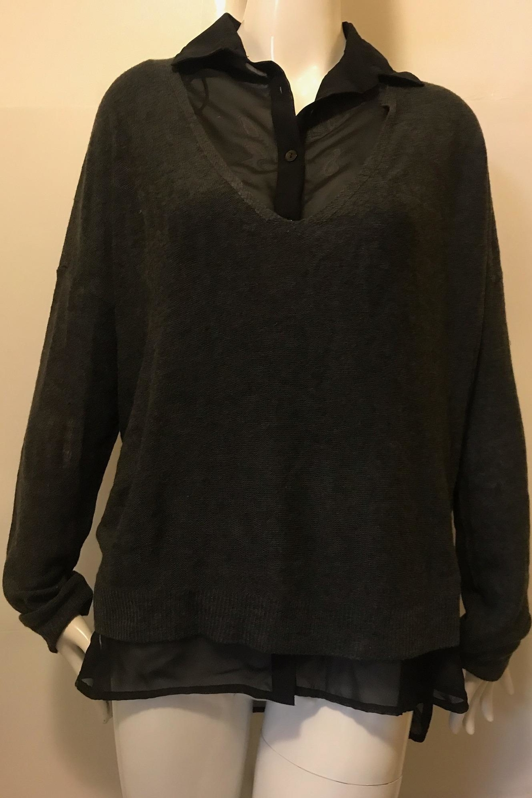 RD Style Charcoal Sweater Button-Top - Main Image