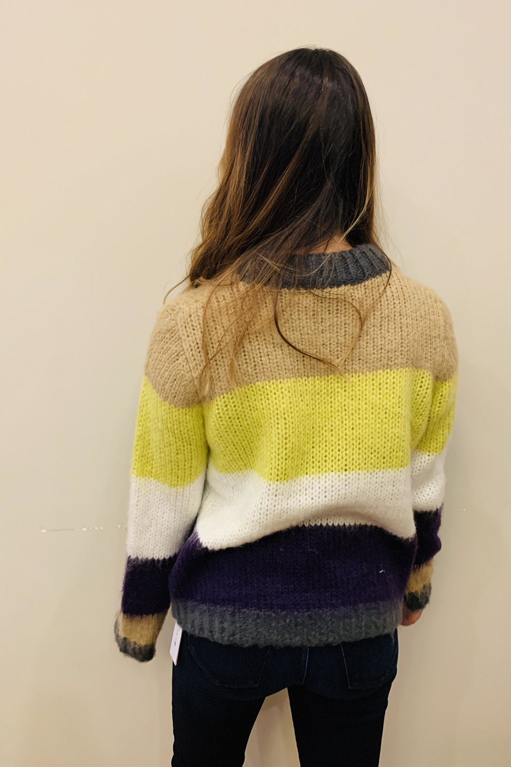 RD Style Fuzzy Stripe Sweater - Front Full Image