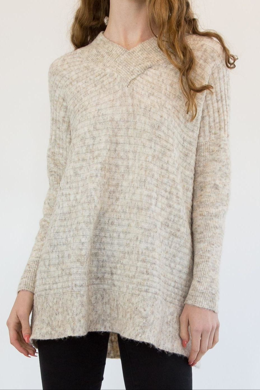RD Style Nude Sweater - Front Cropped Image