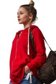 RD Style Red Rouched Hoodie - Front cropped