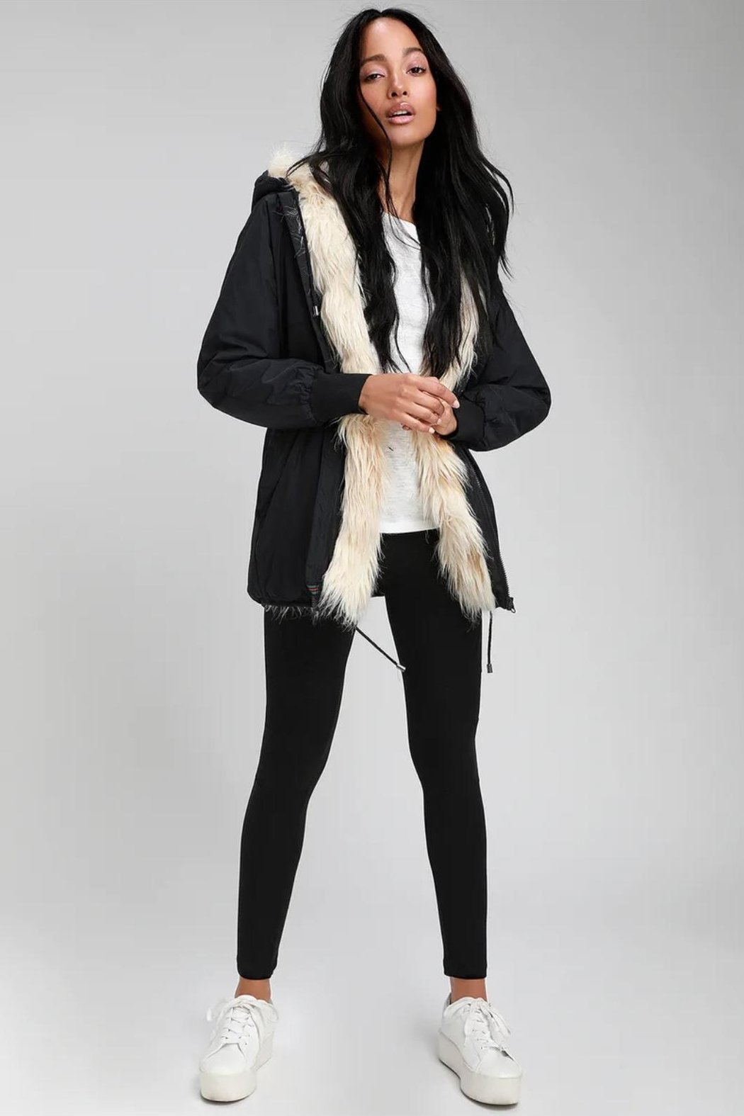 RD Style Ribbon Faux Fur Anorak - Front Full Image