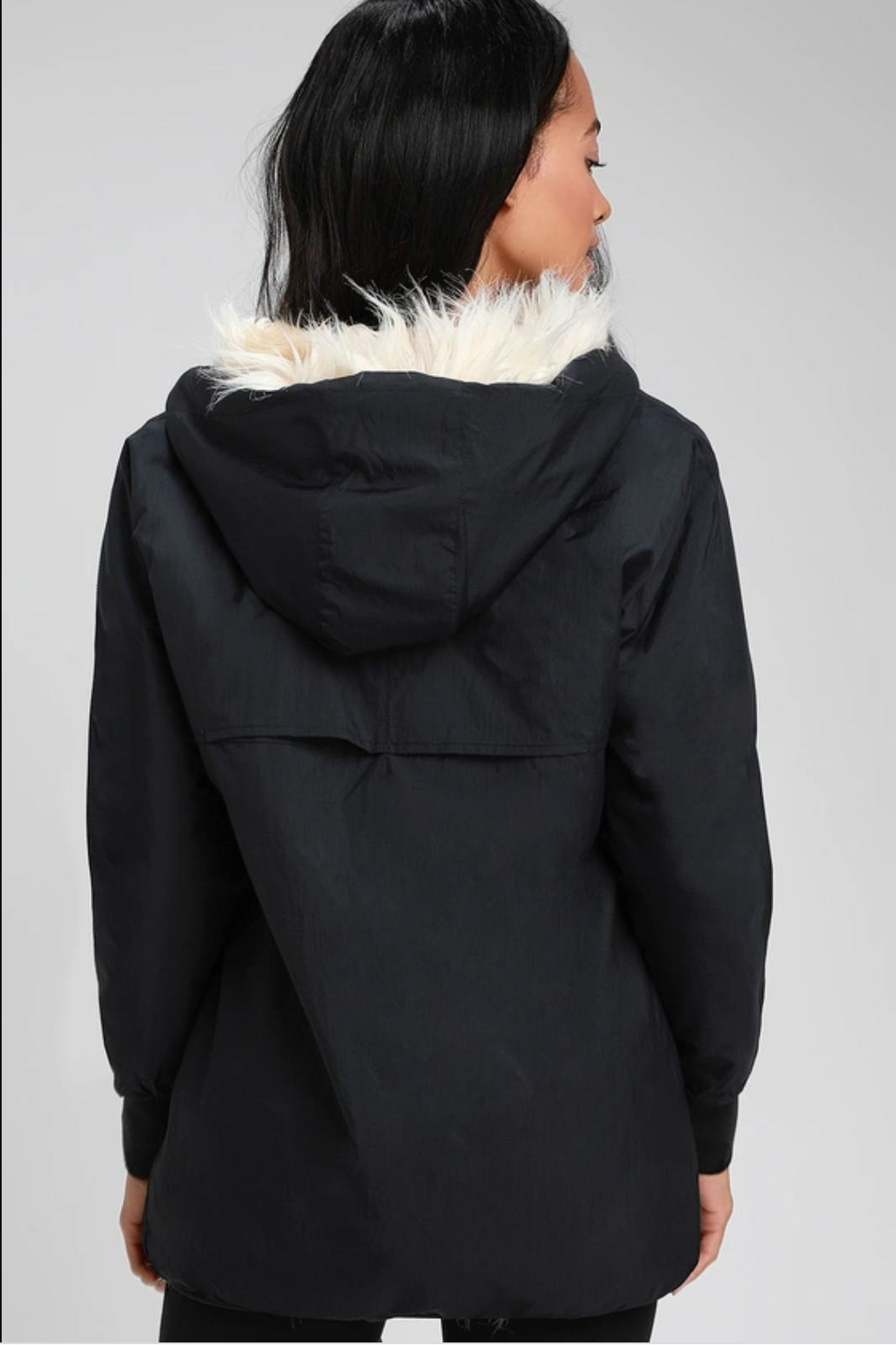 RD Style Ribbon Faux Fur Anorak - Side Cropped Image