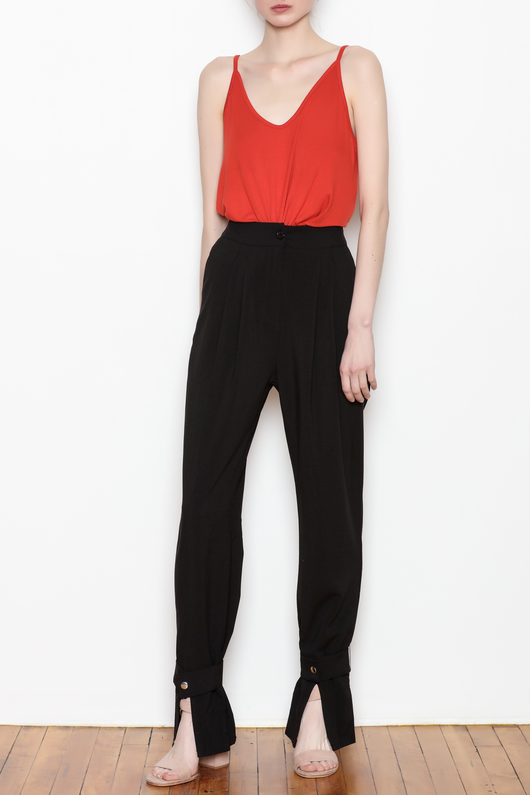 re:named Button Ankle Trouser - Front Full Image