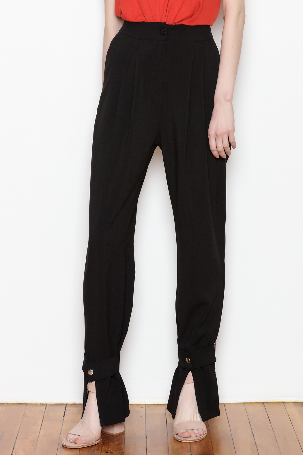 re:named Button Ankle Trouser - Front Cropped Image