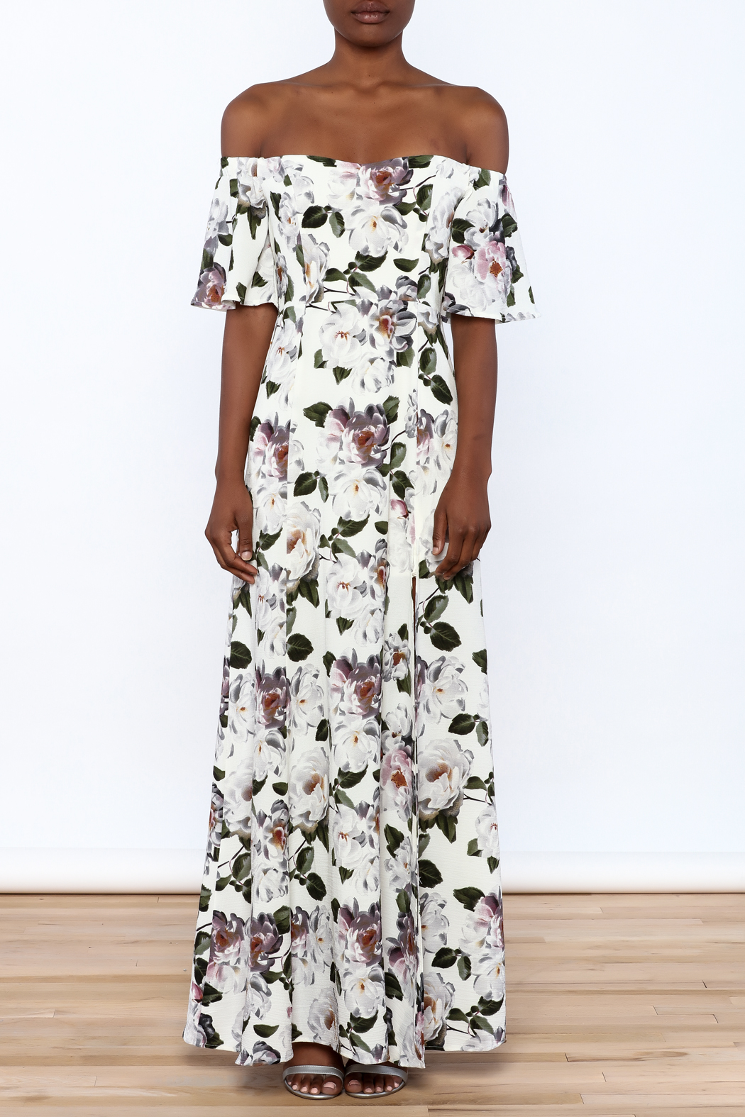 re:named Floral Off Shoulder Dress - Front Cropped Image