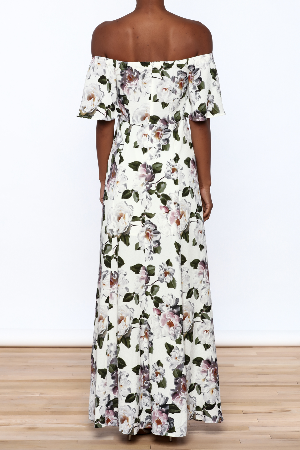 re:named Floral Off Shoulder Dress - Back Cropped Image