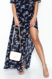 re:named Navy Floral Skirt - Front cropped