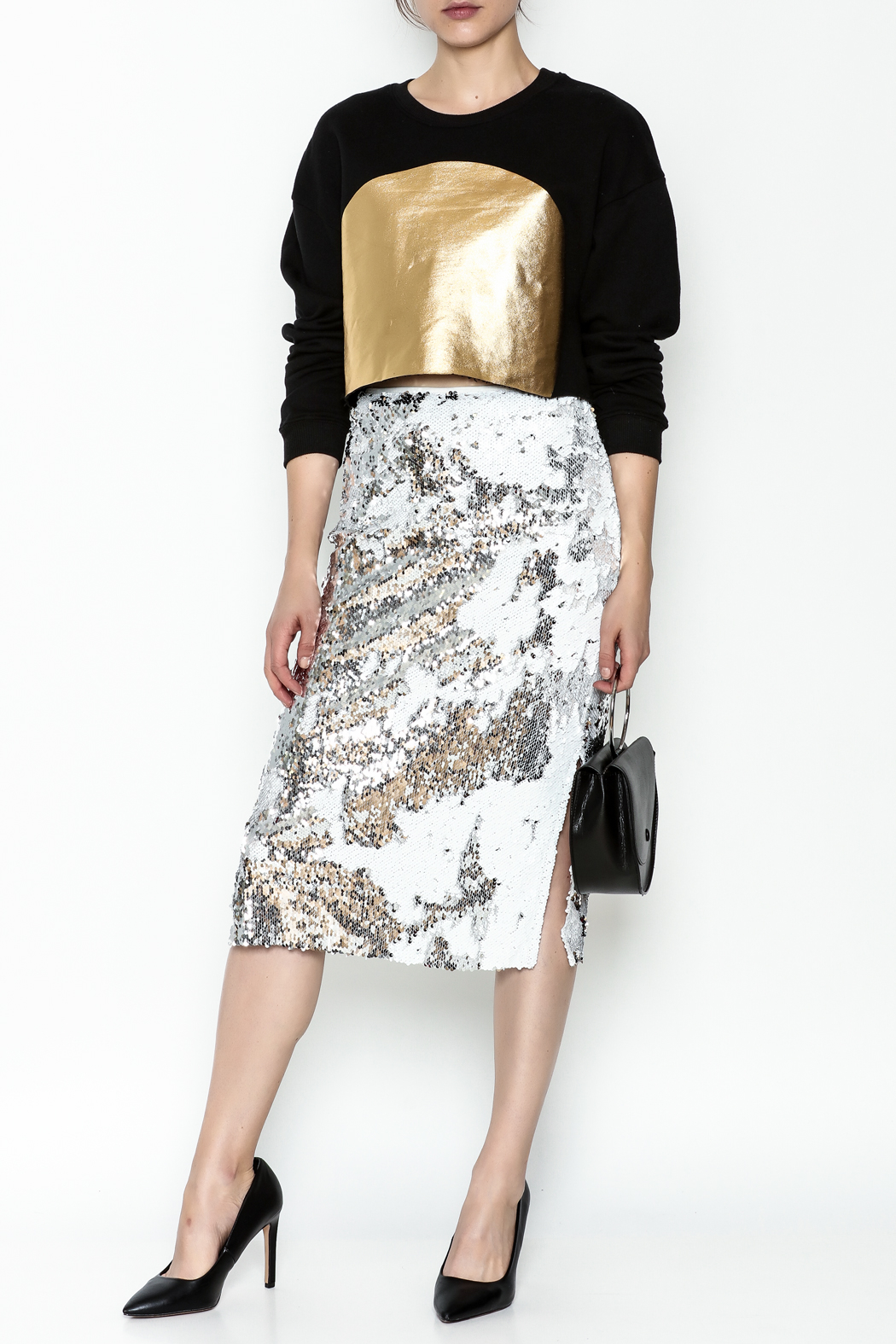 re:named Gold Foil Sweatshirt - Side Cropped Image