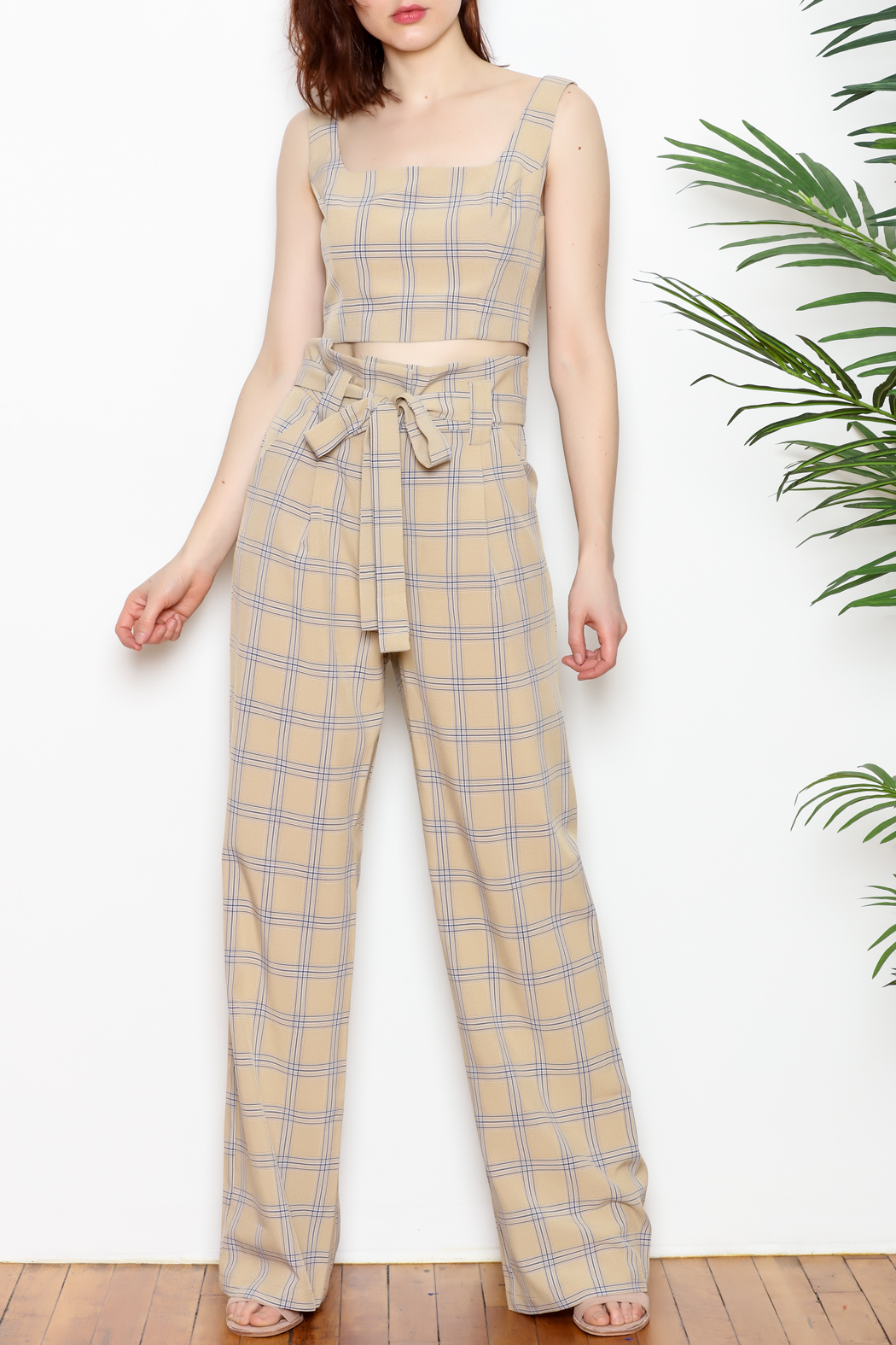 re:named Plaid Pants - Front Full Image
