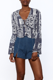 re:named Blue Boho Print Blouse - Product Mini Image