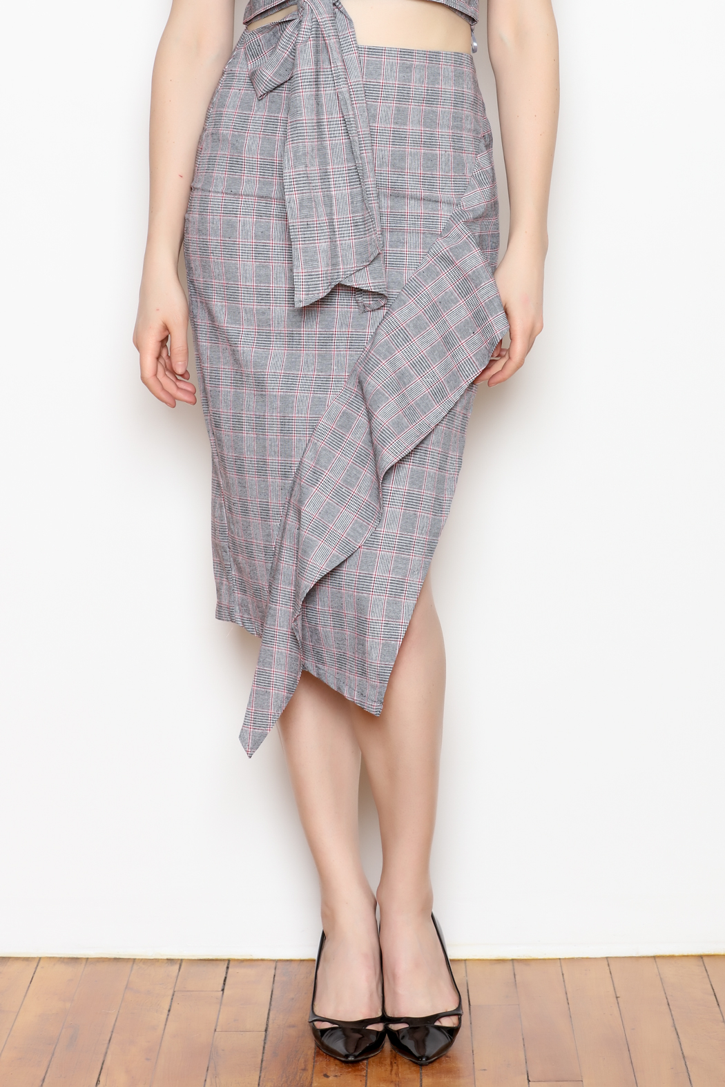 re:named Ruffle Plaid Skirt - Front Cropped Image