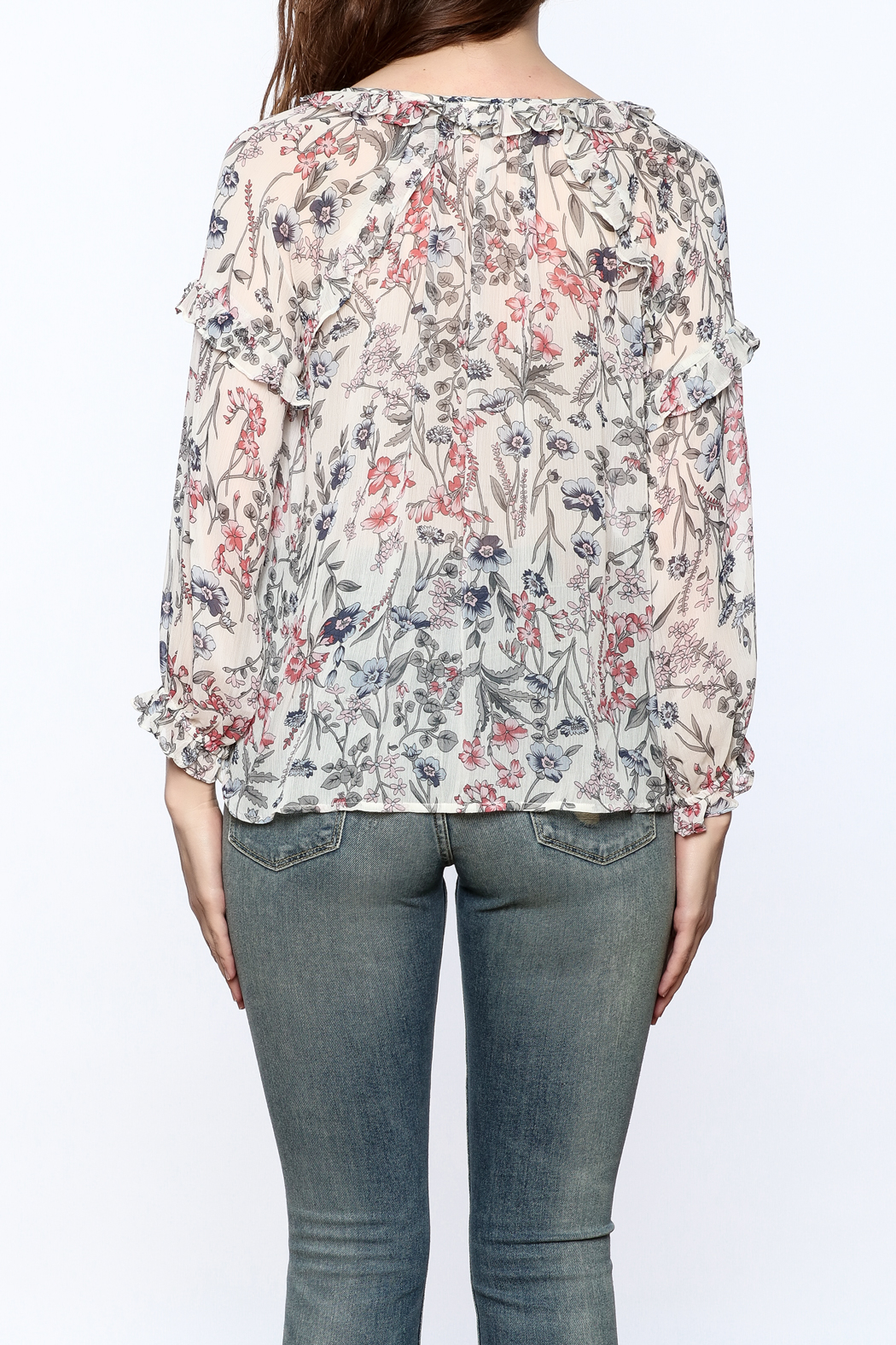 re:named Lightweight Floral Print Blouse - Back Cropped Image