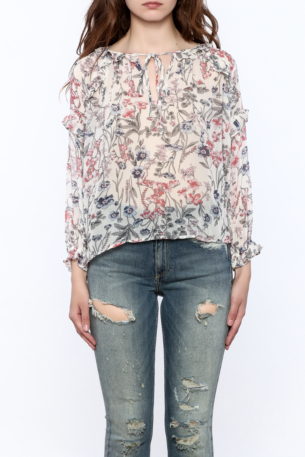 re:named Lightweight Floral Print Blouse - Side Cropped Image