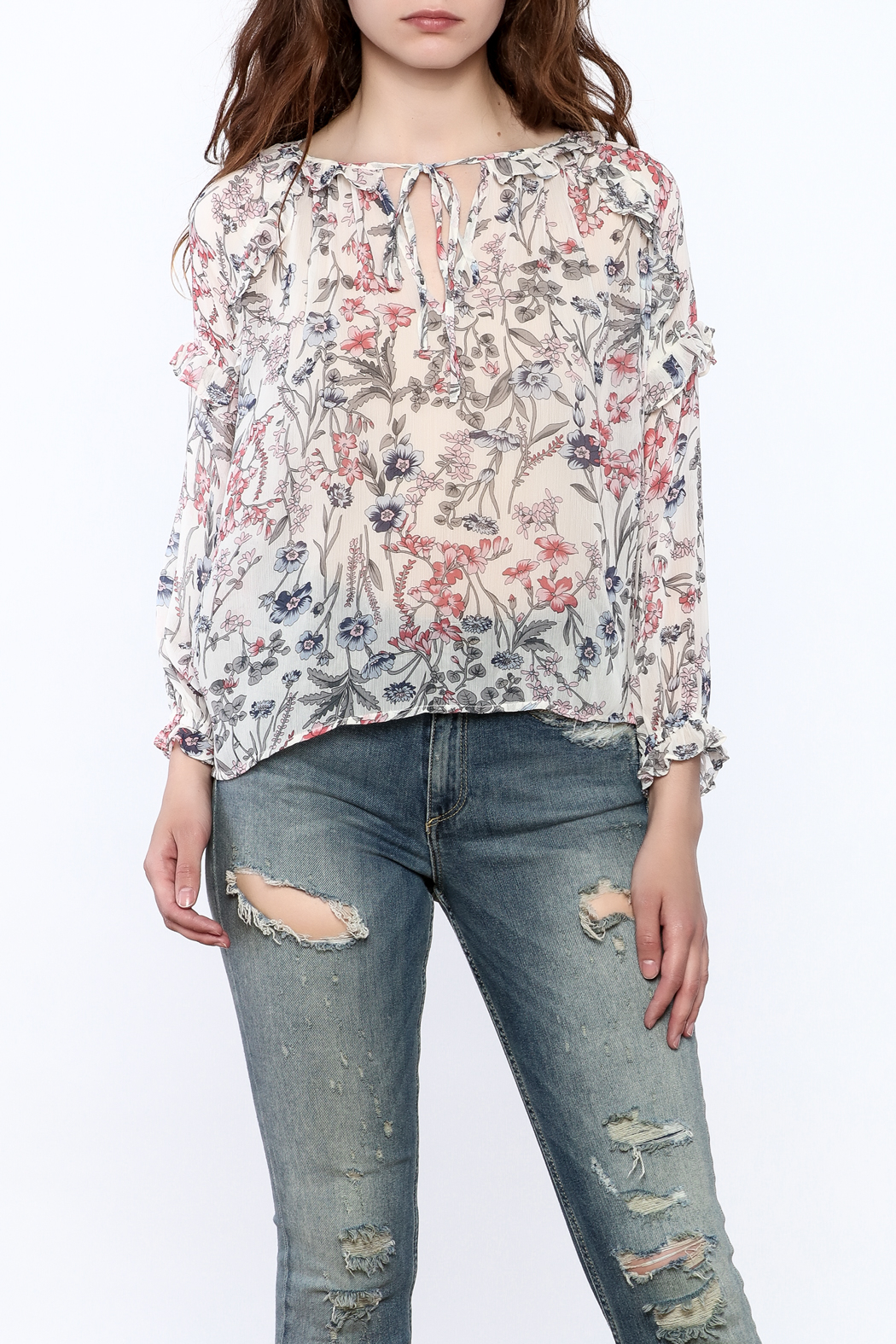 re:named Lightweight Floral Print Blouse - Front Cropped Image