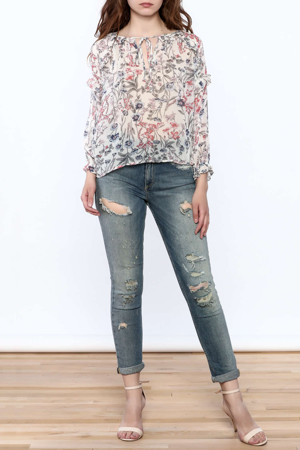 re:named Lightweight Floral Print Blouse - Front Full Image