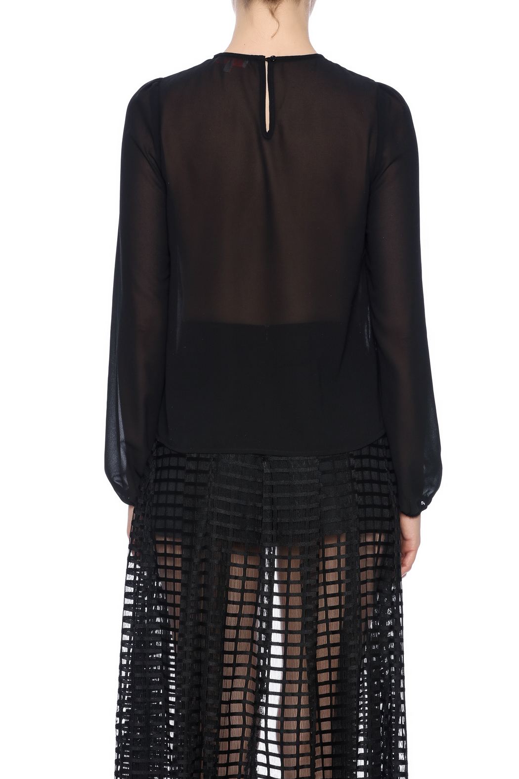 re:named Sequin Trompe Ruffles Blouse - Back Cropped Image
