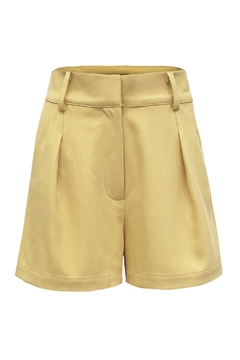re:named Yellow Pleated Shorts - Product List Image