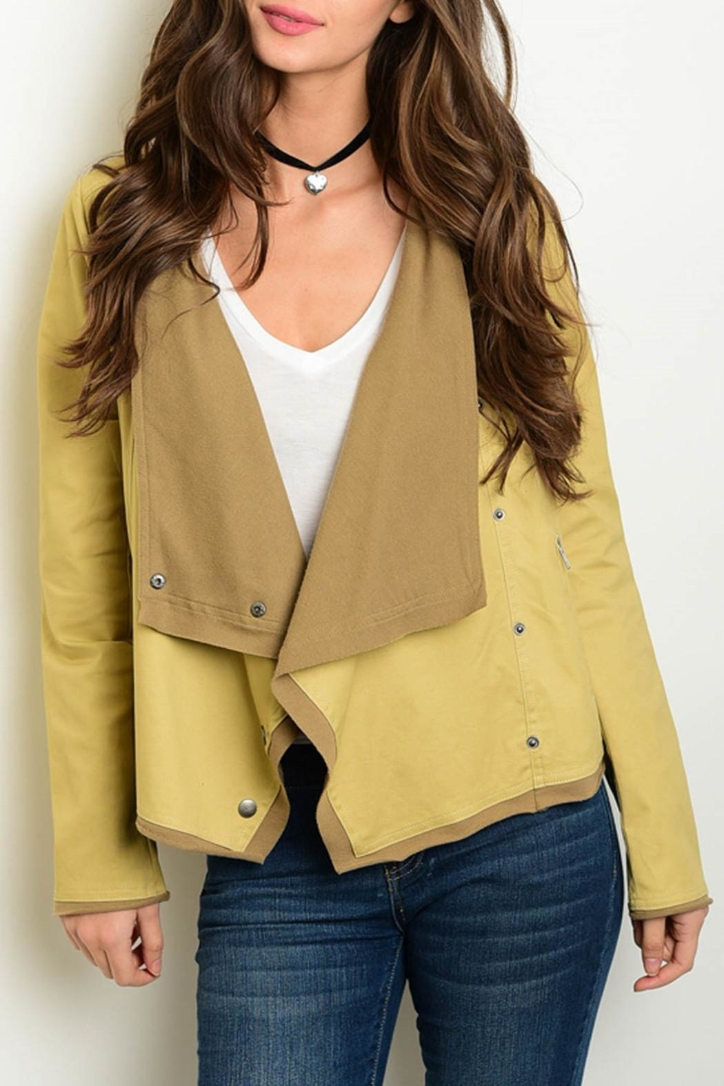 Re-Order Khaki Draped Jacket - Front Cropped Image