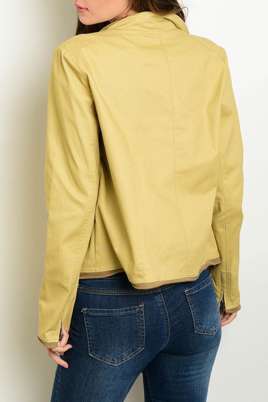 Re-Order Khaki Draped Jacket - Front Full Image