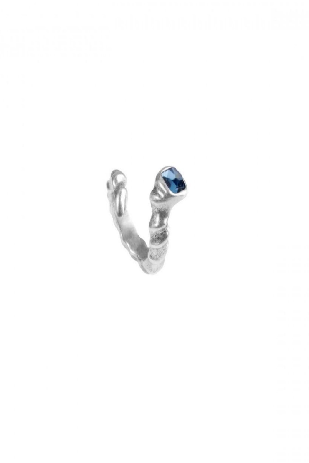 Uno de 50 Re-Twister Ring w Blue Stone - Front Full Image