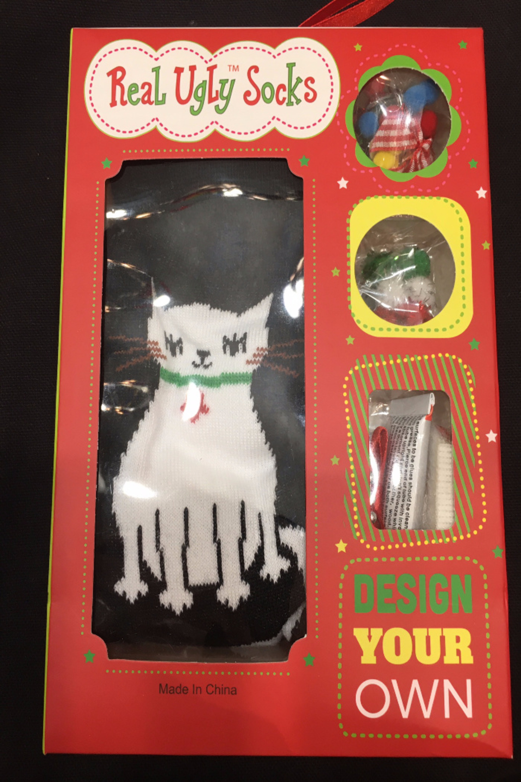 Patricia's Presents Real Ugly Cat Socks - Front Cropped Image