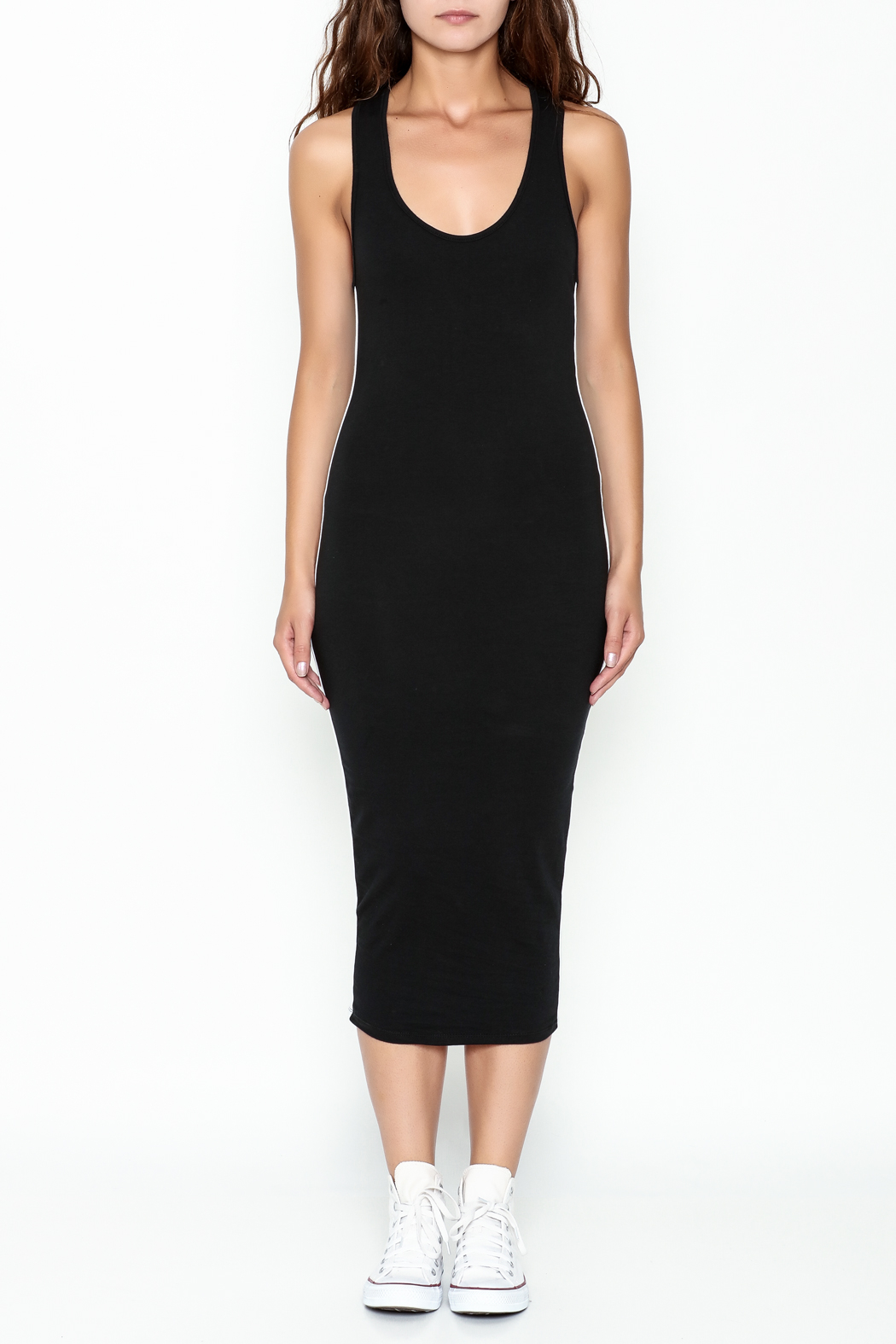 Rebdolls Back Racerback Midi Dress - Front Full Image