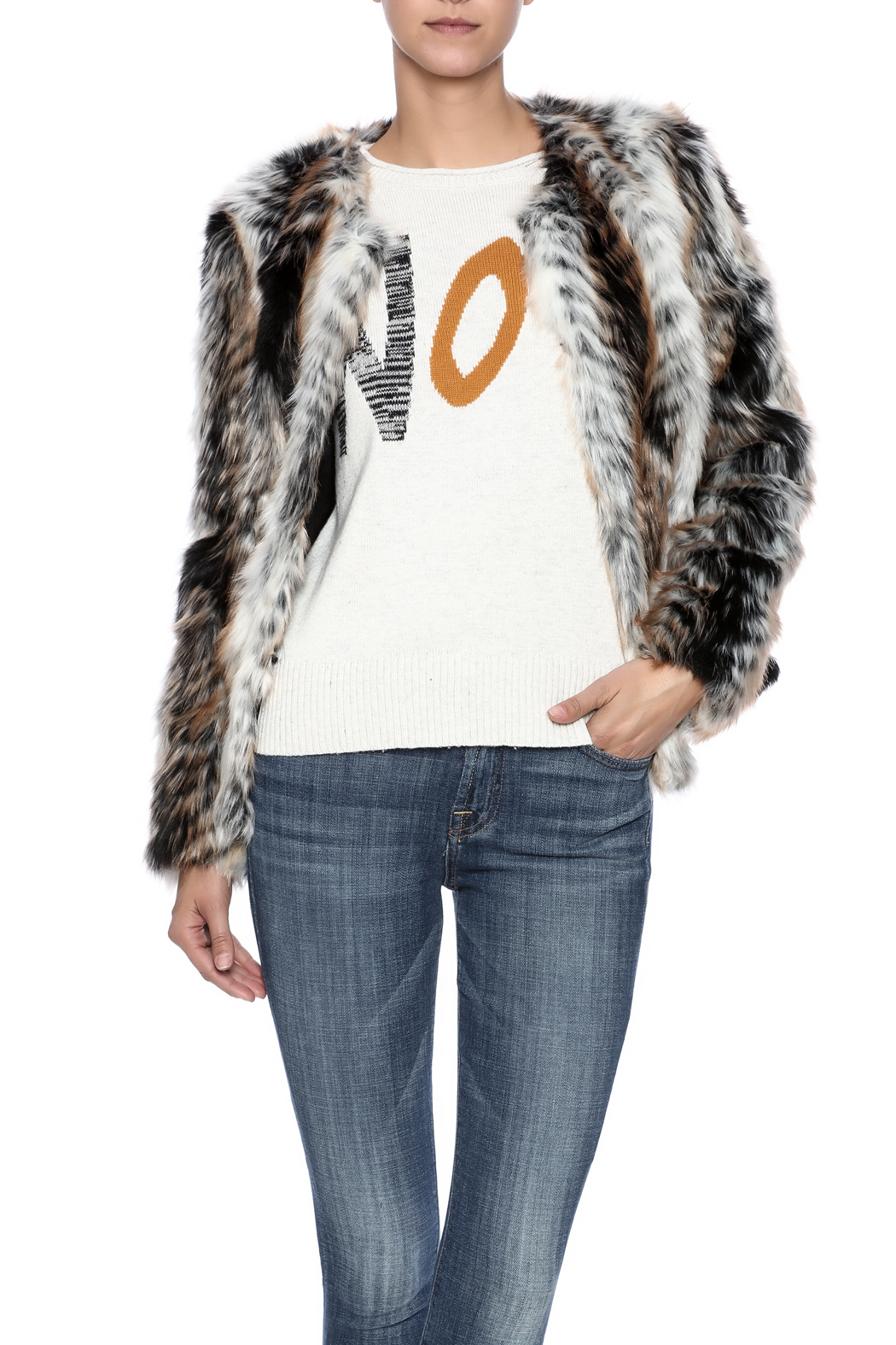rebecca elliott Tan Faux-Fur Jacket - Main Image
